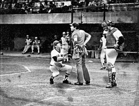 [Providence manager Joe Morgan arguing with home plate umpire Denny Cregg. Cregg would toss Morgan from the game in the top of the 22nd inning. From the book Bottom of the 33rd. Hope, Redemption and Baseball's Longest Game] *** []