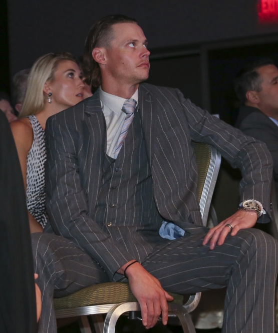 BOSTON - May 19, 2016 - Boston Red Sox pitcher Clay Buchholz and wife Lindsay attend the Red Sox Hall of Fame and Fenway Honors Award Gala. (Brita Meng Outzen/Boston Red Sox)