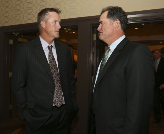 BOSTON - May 19, 2016 - Mike Timlin talks with Boston Red Sox manager John Farrell at the Red Sox Hall of Fame and Fenway Honors Award Gala. (Brita Meng Outzen/Boston Red Sox)