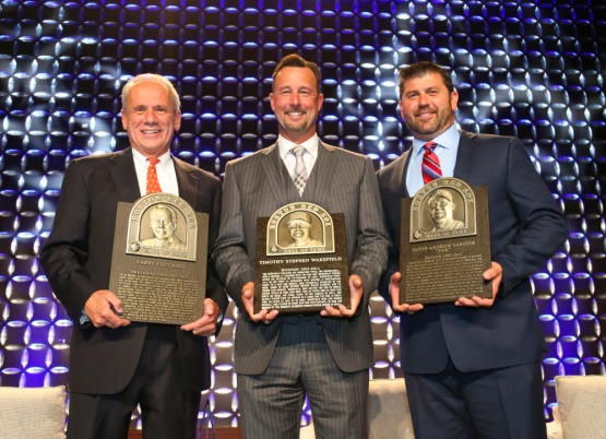 BOSTON - May 19, 2016 - The newest members of the Red Sox Hall of Fame, from left, Boston Red Sox president and CEO emeritus Larry Lucchino, pitcher Tim Wakefield and catcher Jason Varitek, hold their plaques following the Red Sox Hall of Fame and Fenway Honors Award Gala benefitting the Red Sox Foundation at the Sheraton Boston. (Brita Meng Outzen/Boston Red Sox)