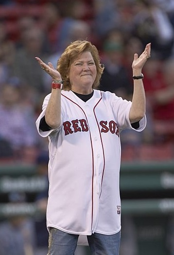 Baseball: Babe Ruth's granddaughter Linda Ruth Tosetti during ceremonial first pitch before Boston Red Sox vs Tampa Bay Rays game at Fenway Park. Boston, MA 5/6/2015 CREDIT: Tim Clayton (Photo by Tim Clayton /Sports Illustrated/Getty Images) (Set Number: X159574 TK1 )