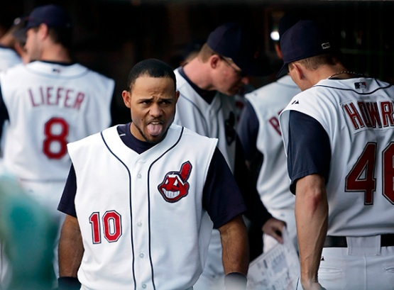 Cleveland Indians outfielder Coco Crisp (10) shows his reaction to the Indians' 4-3 loss to the Chicago White Sox Saturday, Oct. 1, 2005, in Cleveland. (AP Photo/Amy Sancetta)